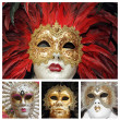 Venetian carnival masks collage,Venice, Italy, Europe — Stock Photo