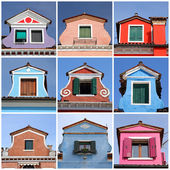 Antique colorful roof windows collection, Burano,Venice, Veneto, — Stock Photo