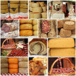 Cheese and meat on farmers market - collage — Stock Photo #25587963