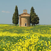 Fantastic tuscan landscape in spring, Chapel of Madonna di Vital — Stock Photo