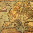 Foto Stock: Reproduction of 16th century map of Europe engraved and colored