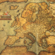 reproduction of 16th century map of europe engraved and colored — Stock Photo