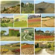 Country houses in  scenic tuscan landscape  - collage — Stock Photo
