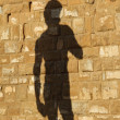 Silhouette of famous italistatue of David projected on wall o — Stock Photo #27618163