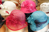 Elegant colorful women straw hats collection, Firenze, Italy, Eu — Stock Photo