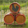 Stock Photo: Barrels with iconic black rooster seal of Consorzio Chi