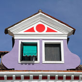 Beautiful roof window on Burano island, Venice, Italy, Europe — Stock Photo
