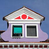 Beautiful roof window on Burano island, Venice, Italy, Europe — Stock Photo