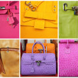 Colorful fine leather purse collection — Stock Photo