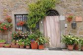 Deur met gordijn, Toscane, Italië, Europa — Stockfoto