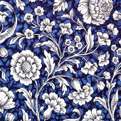 Traditional blue , white and black floral decorative paper back — Stock Photo