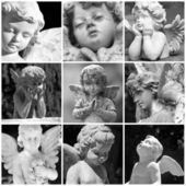 Angelic sculptures collage — Stock Photo
