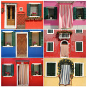 Composition with colorful houses from borgo Burano near Venice, — Stock Photo