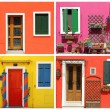 Foto Stock: Photo- montage with multicolor vivid painted houses in Burano,
