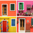 Photo- montage with multicolor vivid painted houses in Burano, — Stock Photo #28695635