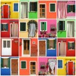 Multicolor abstract facade made of images from Burano village,Ve — Foto Stock