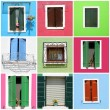 Multicolor windows collage made of images from borgo Burano near — Stock Photo #28696031