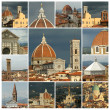 Collage with aerial images of  city of Florence, Unesco world he — Stock Photo