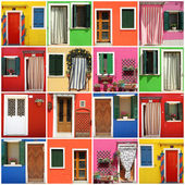 Multicolor abstract facade made of images from Burano village,Ve — Stock Photo