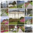Collage with images of the Villa Melzi d'Eril and famous gardens — Foto Stock