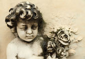 Antique angelic figure with bouquet of flowers on marble facade — Stock Photo