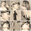 Постер, плакат: Composition with images of David by Michelangelo Florence Ital