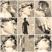 Composition with images of David by Michelangelo, Florence, Ital — Stock Photo
