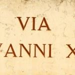Marble street sign : Via Giovanni XXIII ( John XXXIII ) Pope J — Stock Photo #29181883
