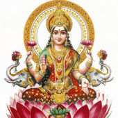 Lakshmi - Hindu goddess of wealth, prosperity,light,wisdom,fortu — Foto Stock