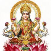 Lakshmi - deusa hindu da riqueza, prosperidade, luz, sabedoria, fortu — Foto Stock