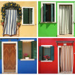 Collection of images with colorful doorways to the houses in bor — Stock Photo #29856397