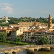 Wonderful aerial view of Arno river  with bridge Ponte alla Carr — Foto Stock