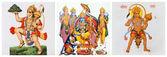 Images of hindu deity Hanuman and Lord Rama and his wife Sita on — Stock Photo