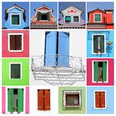 коллекция изображений с красочной ретро windows из бурано isl — Стоковое фото
