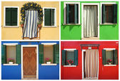Collection of images with colorful doorways to the houses in bor — Stock Photo
