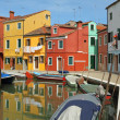 Canal in Burano little village on Venetian lagoon ,vivid painted — Stock Photo