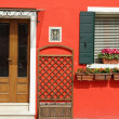 Foto Stock: Entrance to typical vivid painted house on Burano island, Ve