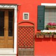 Stock Photo: Entrance to typical vivid painted house on Burano island, Ve