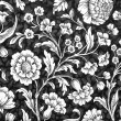Damask pattern , white and black floral decorative background — Stock Photo