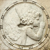 Antique relief with cemetery angel, Venice, San Michele monument — Stock Photo