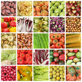 Collection of images of vegetables and fruits from farmers mark — Stock Photo