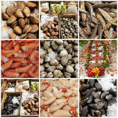 Seafood display collage — Stock Photo