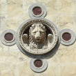 Winged lion decoration on facade of the Scuola Grande di San Mar — Stock Photo