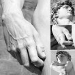 Stock Photo: Details of famous sculpture of David by Michelangelo, Florence,