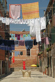 Typical outdoor drying laundry on clotheslines in Venice, Italy — Stock Photo