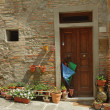 Front door with many flowerpots and umbrella in tuscan small tow — Stock Photo #30564913