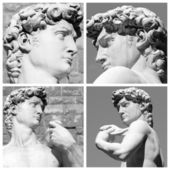 Collage of David sculpture by Michelangelo — Stock Photo