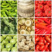 Colagem de alimentos nas cores da bandeira italiana — Fotografia Stock