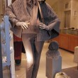 Mannequin in shop window dressed in  winter warm grey clothing,  — Stock Photo