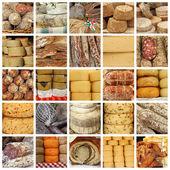 Especialidades de carne e queijo no mercado — Fotografia Stock